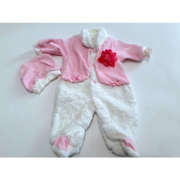 Fehér rózsaszín szőrmés vastag rugi, sapkával