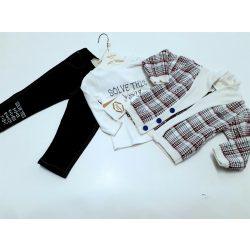 3 részes garnitúra kötött pulcsival, farmernadrággal