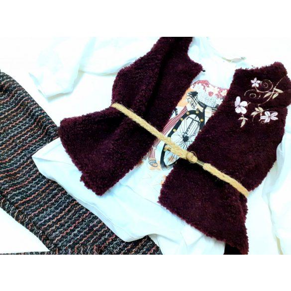 Alkalmi 3 részes szett,  leggings,  szőrmés bordó mellény és pamut felső tüllös ujjal