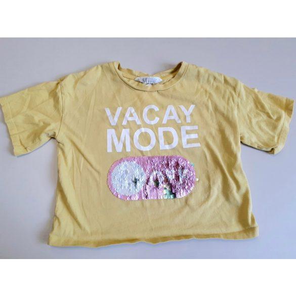 H&M sárga rövid derekú feliratos pamut póló