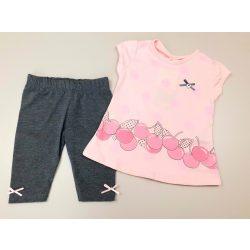 2 részes pamut nyári szett rózsaszín pólóval