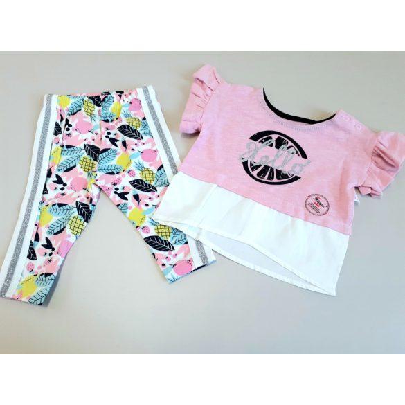 Rózsaszín pamut póló mintás pamut nadrággal