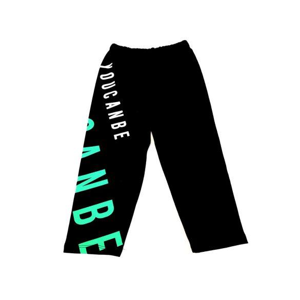 Fekete zöld feliratos pamut leggings
